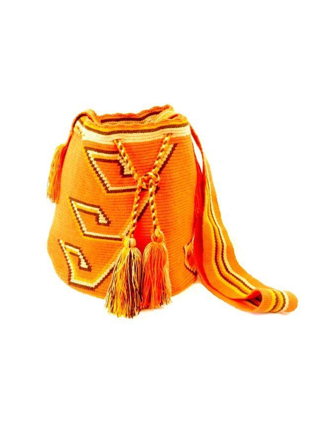 Wayuu mochila with orange geometric pattern