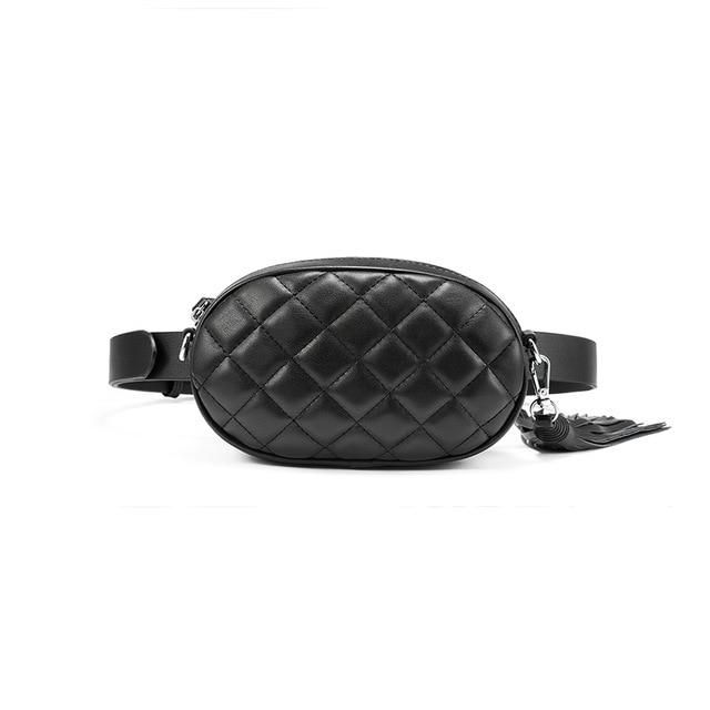 New Women's Faux Leather Adjustable Crossbody Quilted Waist Belt bag