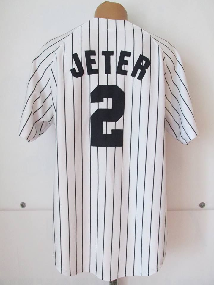 Mlb New York Yankees Derek Jeter 2 Baseball Jersey By Russell Athletic Usa Ny Pinstripe Vintage Newyork Yankees J Baseball Jerseys New York Yankees Jersey