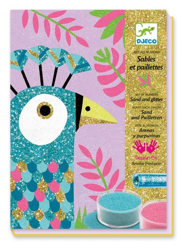 Djeco - Art By Numbers Dazzling Birds Sand & Glitter || Djeco never leaves the Wish List! Any Djeco craft kit is welcome but this Peacock is looking at me like a little lost puppy! #PinToWin #EntropyWishList