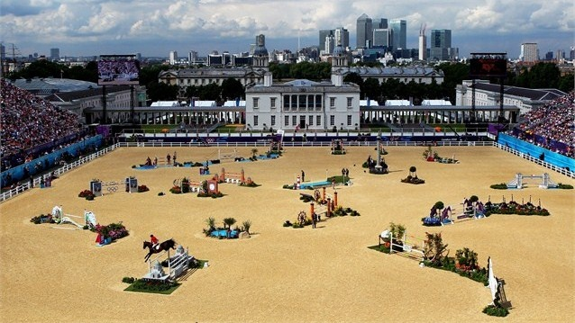 A general view of the third qualifier of Individual Jumping on Day 10 of the London 2012 Olympic Games at Greenwich Park.