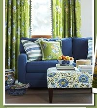 blue & lime living room... color scheme is neat with the patterns