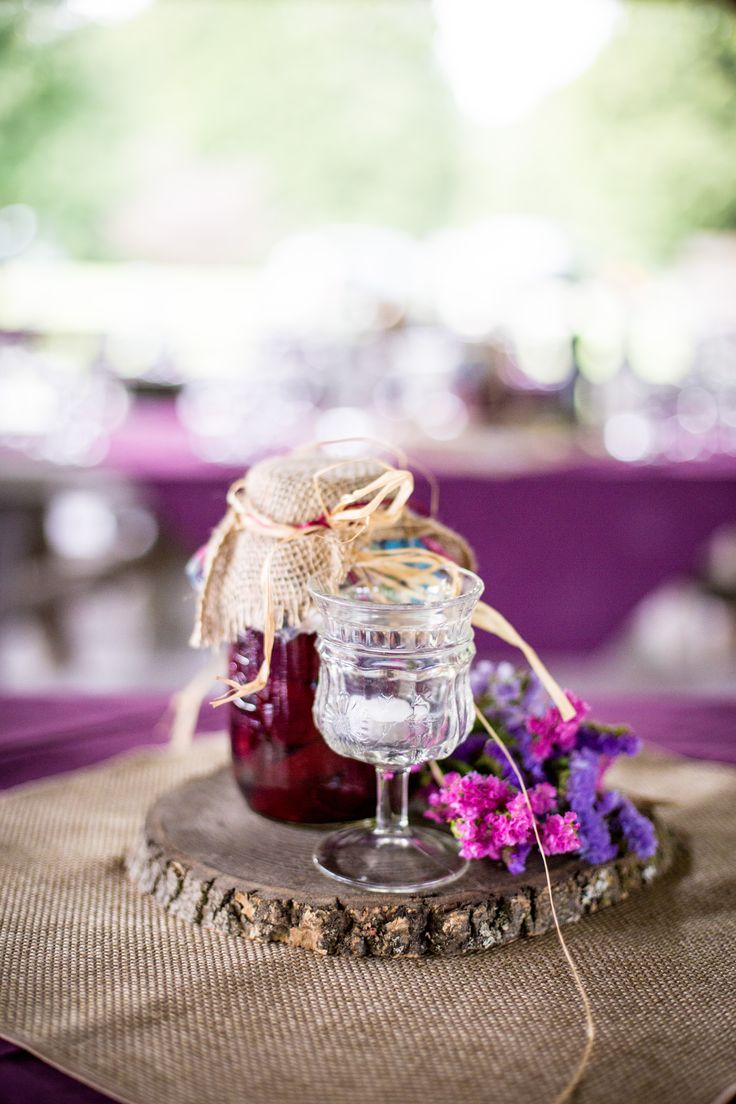 Ontario Summer Wedding, edible decorations, Table numbers, Jam centre pieces