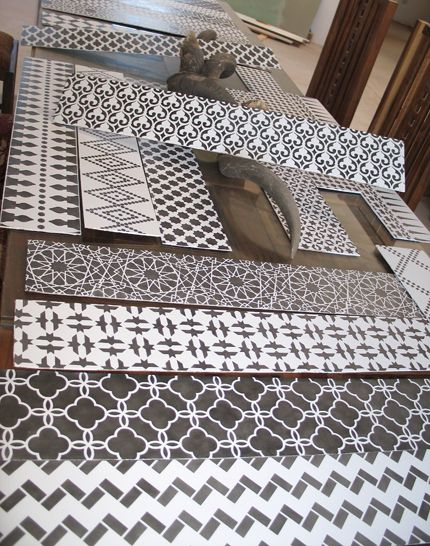 Moroccan stenciled stair risers. DIY then attach riser to existing surface