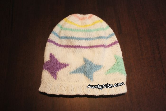 Dancing Stars Striped Hat Beanie 3 sizes by designer @AuntyNiseCrafts.- AuntyNise.com
