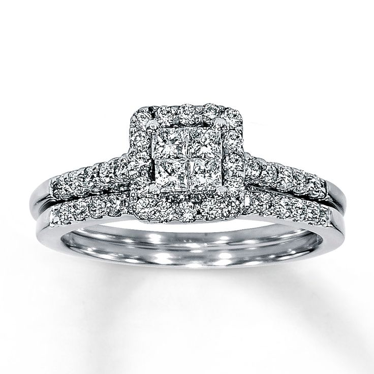 Jared Diamond Bridal Set 5 8 ct tw 14K White Gold A quartet of princess cu