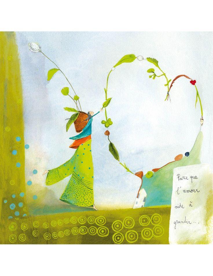 """Anne-Sophie Rutsaert carte postale carrée (14 cm) """"Parce que l'amour..."""" - Arret-sur-image.eu"""