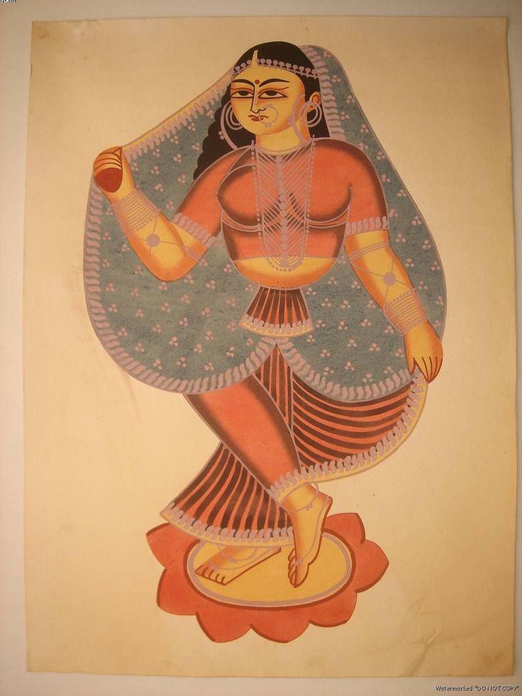 A modern Kalighat painting of a dancing girl