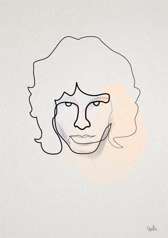 Quibe One Line Minimal Illustrations - Jim Morrison