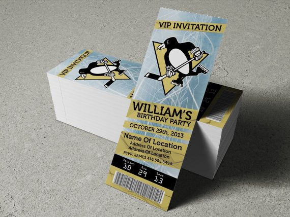 """Pittsburgh Penguins Birthday Party/Event Ticket Invitation (2.5"""" x 7"""") - 2 Options"""
