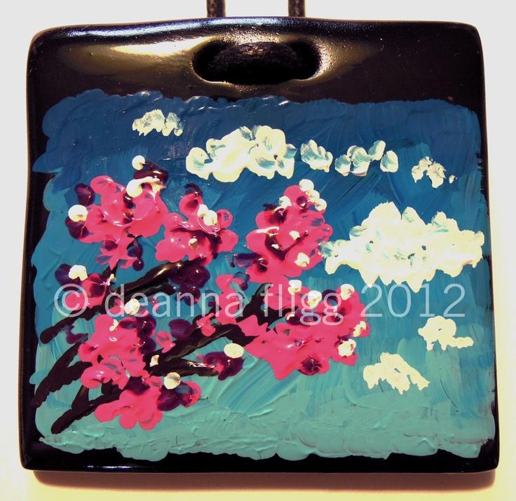 Cherry Blossom - Original acrylic painting on polymer clay. $45.00, via Etsy.