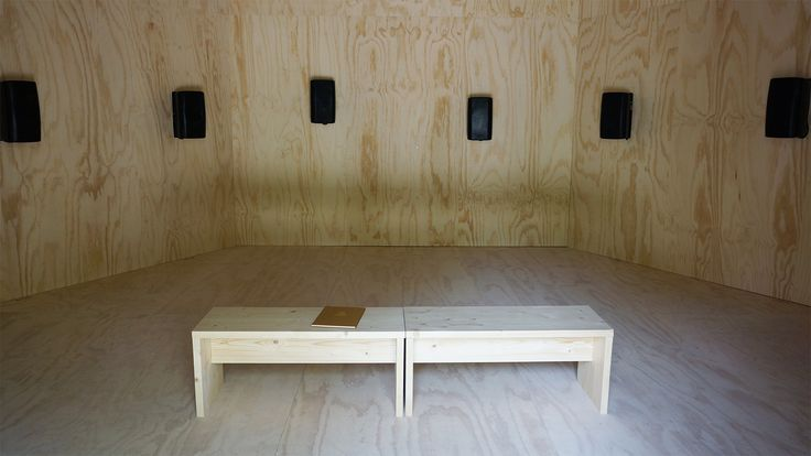 The Song of the Germans: Installation speakers and bench