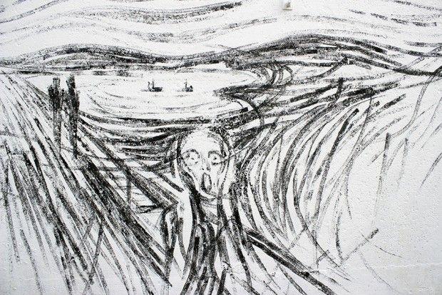 Le street artiste espagnol Pejac a souhaité partager avec nous sa dernière réalisation. Intitulée DRIFT, cette fresque est son humble hommage au maître norvégien de l'expressionnisme, Edvard Munch et plus particulièrement à son oeuvre, Le Cri.  C'est à l'occasion du NuArt Festival à Stavanger en Norvège, que Pejac a réalisé cette installation. Il a remplacé les pinceaux par les roues d'une voiture en jouet et propose une reproduction assez étonnante de l'oeuvre emblématique de Munch