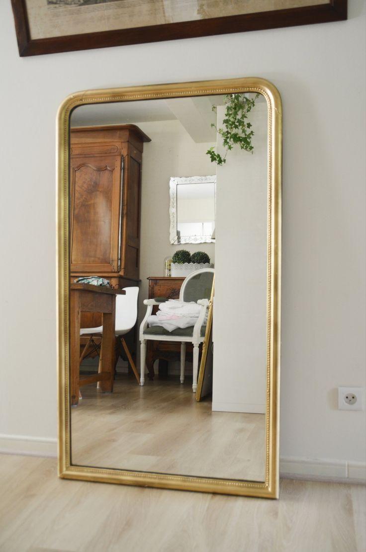 Miroir en résine patiné gris clair , shabby chic , vintage