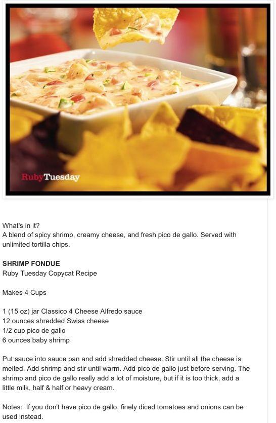Ruby Tuesday Shrimp Fondue recipe!