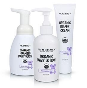 Los productos orgánicos para el cuidado del bebé incluyen crema orgánica para las rozaduras, loción orgánica para bebé, y jabón espumoso orgánico para bebé. http://productos.mercola.com/cuidado-para-el-bebe/