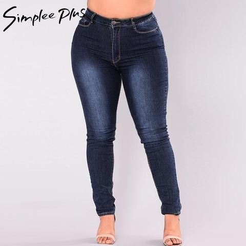fb7c6612992 Simplee Plus Jeans Women 2018 Plus Size High Waist Jeans Full Length  Fashion Skinny Pencil Stretch Denim Pants Jeans XXL-7XL
