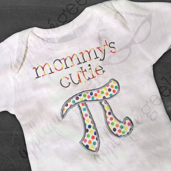 """Mommy's Cutie Pi Applique Embroidery Design INSTANT DOWNLOAD for DIY projects, from Designed by Geeks. Use any embroidery machine - Brother, Viking, Janome, Bernina, Pfaff, Singer - to stitch this design.  Adorkable design featuring the text """"mommy's cutie"""" and the pi symbol. A fun design for math nerds, pi day, or Mother's Day."""