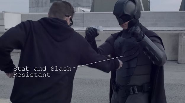 Real Batman Suit Is Stab And Slash Proof - Armatus Designs is creating a real Batman suit capable of resisting pretty much anything. Possibly even bullets! Check out the crazy video! #geek