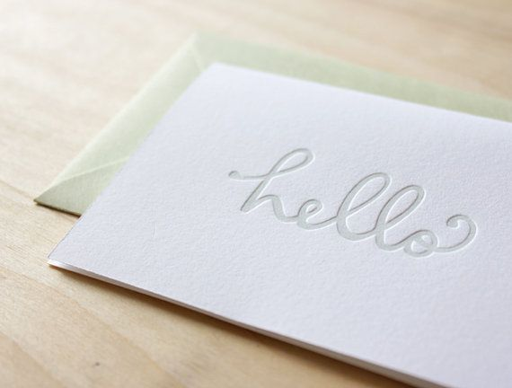 my GOODNESS this is gorgeous //http://www.etsy.com/listing/95722393/letterpress-greeting-card-minty-hello