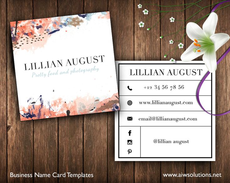 Square Business Card – ID34Square Business Card Template, Abstract Name Card Template,watercolour Photography name card, minimal business card #businesscard #namecard #callingcard