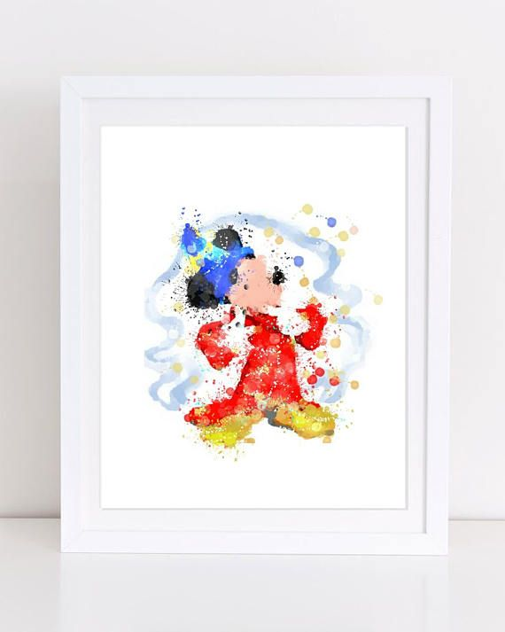 Disney Mickey Mouse Fantasy Magic Watercolor Poster Mickey
