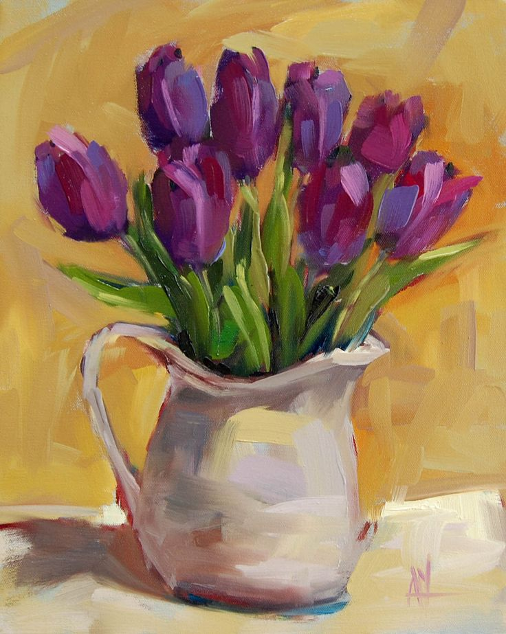 Purple Tulips in Pitcher original still life floral oil painting by Angela Moulton