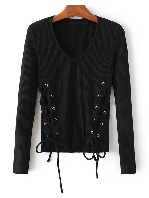 Grommet Lace Up Ribbed Jumper