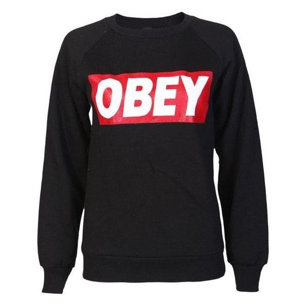 Obey Sweatshirt in Black ❤ liked on Polyvore featuring tops, hoodies, sweatshirts and obey clothing