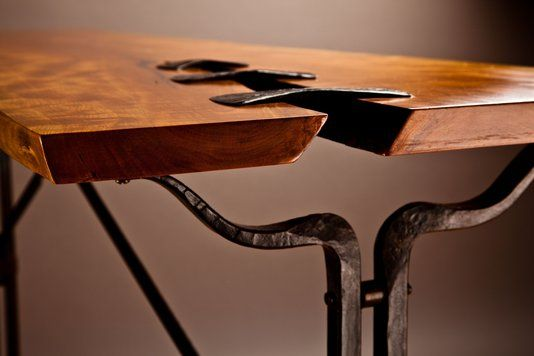 Custom Made Forged Steel And Live Edge Cherry Hall Table I like this idea for holding together a large crack