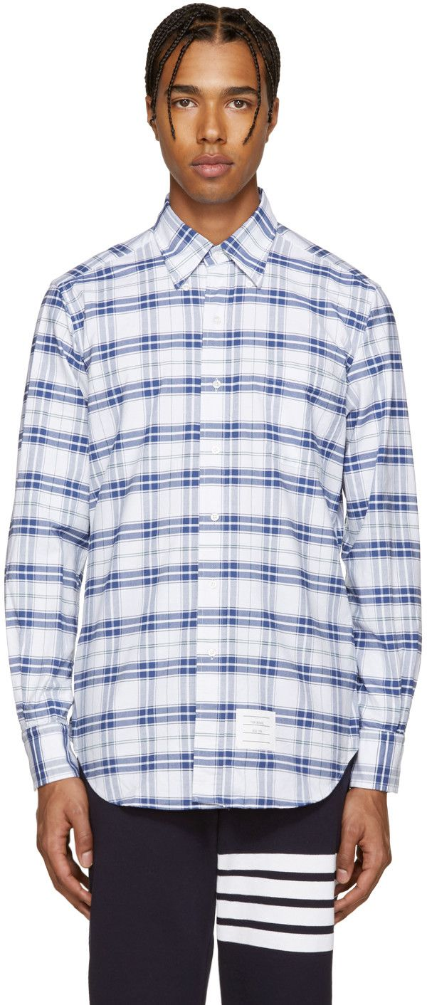 THOM BROWNE White & Navy Classic Check Shirt. #thombrowne #cloth #shirt