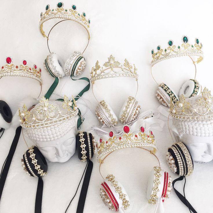 Crown Headphones / LED Headphones / Light Up Headphones / Embelished Headphones / Custom Headphones / Floral Headset Headphones / Lit Headphones