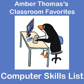 "Has the role of ""Computer Teacher"" been thrust upon you? Here is a list of computer skills that I, a regular classroom teacher, developed for my fourth graders. There is a mix of basic keyboarding skills, internet know-how, and navigating Windows. These are the basic skills that many students will already know (which lends itself very well to peer teaching) but students who have limited computer access might not have mastered. FREE!"