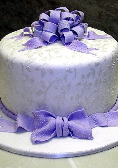 Photo Slideshow: Cakes: Cake Boss: TLC.....the dotted swiss lavender ribbon, and the pattern on the cake....Genius!