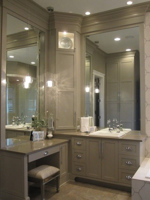 neutral colored bathroom with makeup vanity - Bathroom Cabinets Corner