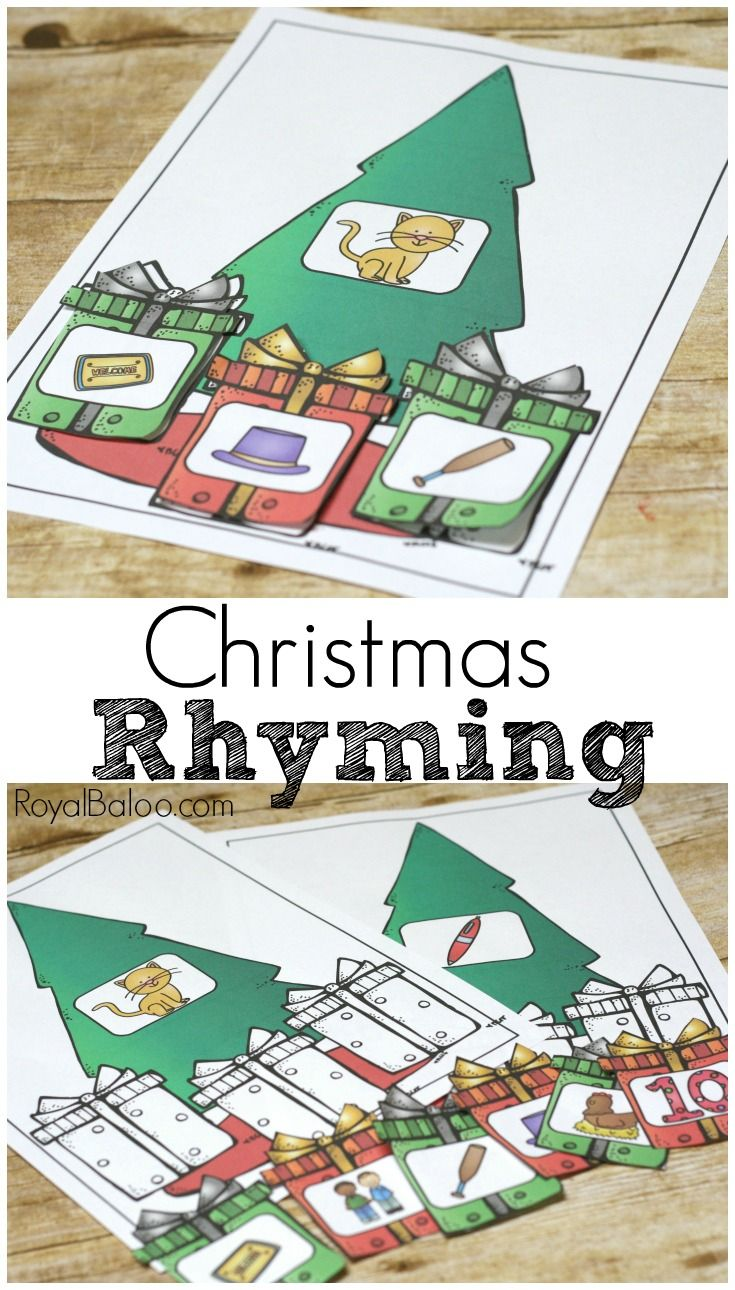 Christmas rhyming! Practice rhymes for your preschoolers and kinders with this fun Christmas Rhyming set! Free printable for rhymes!