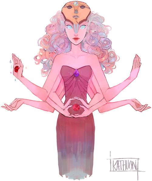 This is what the fusion between Rose, Garnet, Amethyst, and Pearl would be! I am just now realizing that!