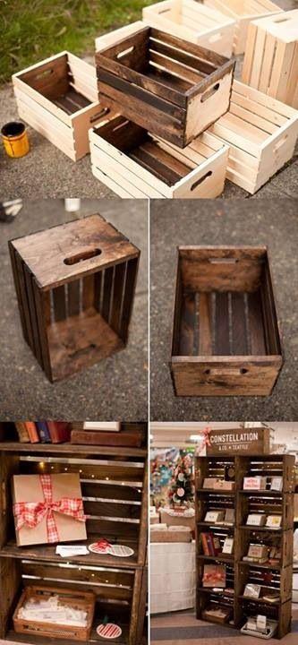 Reutiliza viejas cajas de madera, trátalas con una capa de barniz, cera, betún o pintura y verás la diferencia.