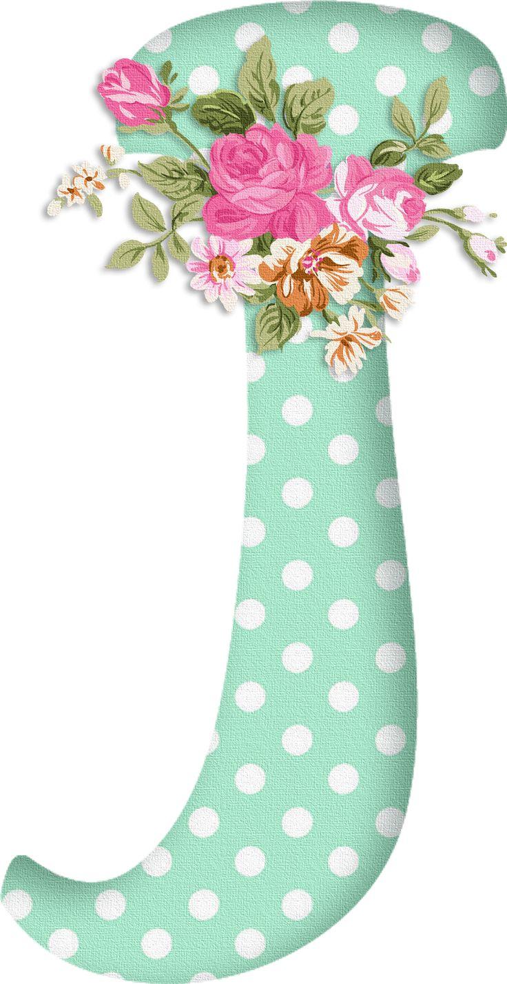 PAPIROLAS COLORIDAS: Abecedario con flores. Letras mayúsculas verdes, puntos blancos. Letra J.