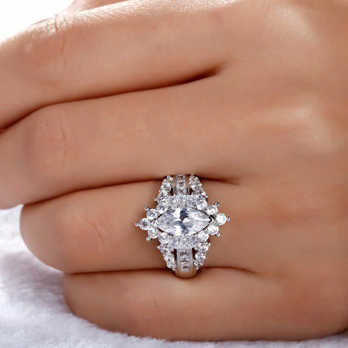 Jeulia Luxurious Unique Halo Marquise Cut Created White Sapphire #engagement Rin…