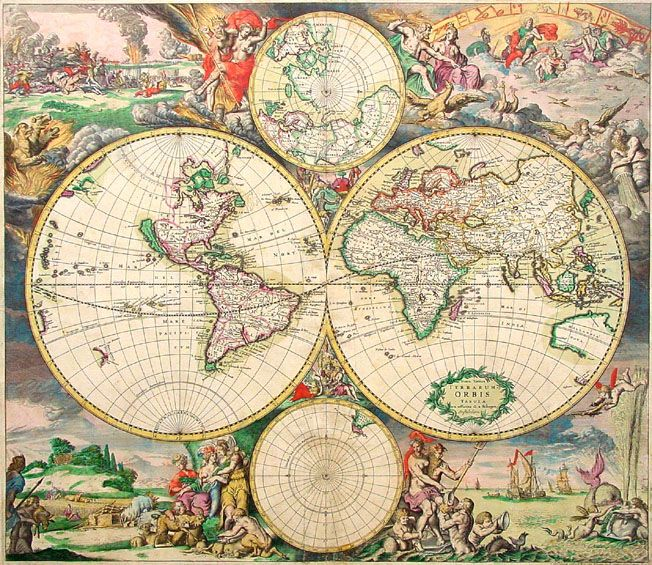 17 best cartographia images on pinterest bird civilization and old world map 1689 antique travel artwork poster by thevintagevamp sciox Gallery