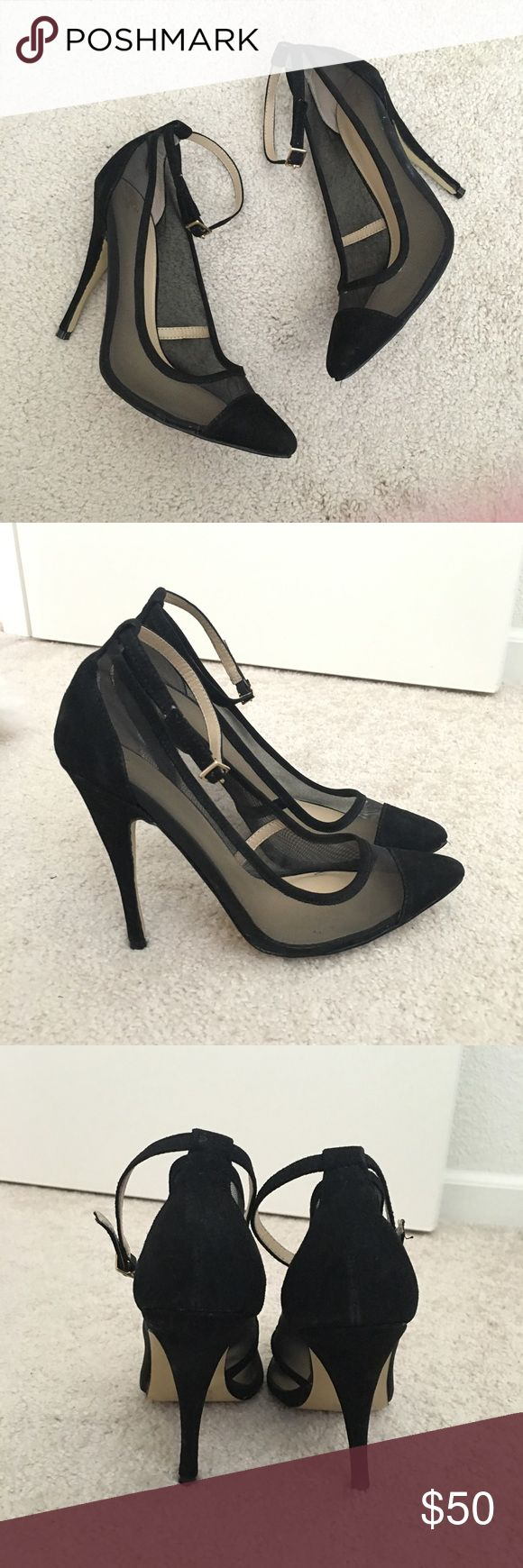 Black Mesh Pointed Toe Ankle Strap Heels Purchased from Victoria Secret website but item doesn't have brand except the angel logo. Worn twice. Excellent condition, only wear is on sole. Man made materials. 4.5 inch heel height. Shoes Heels