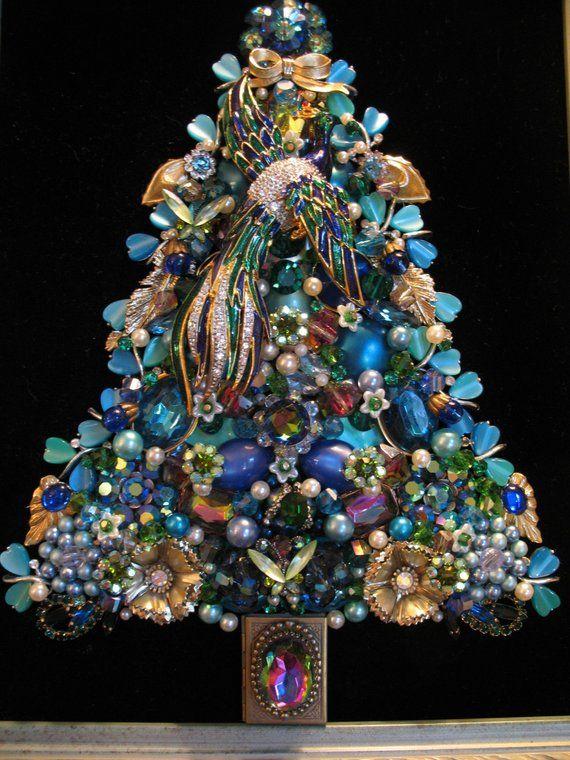Custom Order Framed Vintage Jewelry Christmas Tree Theme Peacock