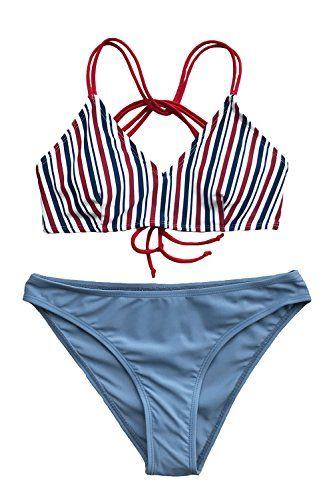 3dc073fe1526c Cupshe Fashion Women s Sassy Sweetheart Stripe Tie Back Cross Bikini ...