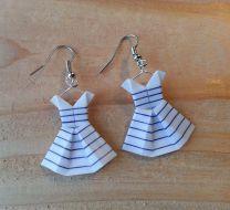Boucles d'oreille robes marinières en origami