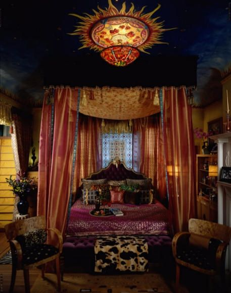 A truly mystical bedroom retreat! painted ceiling, draperies, the perfect bedroom.