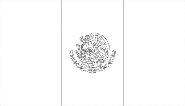 Bandera de México para colorear con escudo