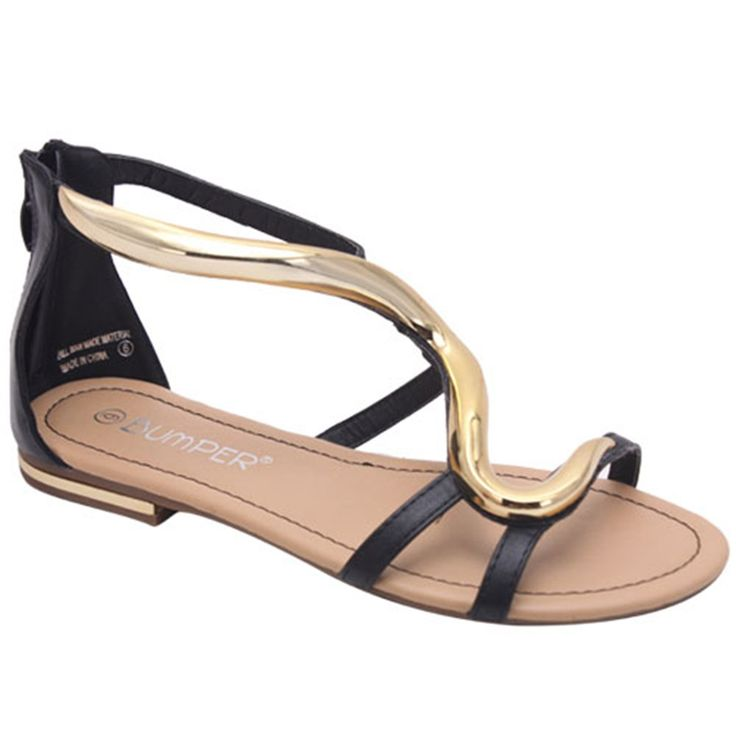 NEW Womens Strappy Gold Metallic Ankle Strap Flat Sandals w/ Zipper Size
