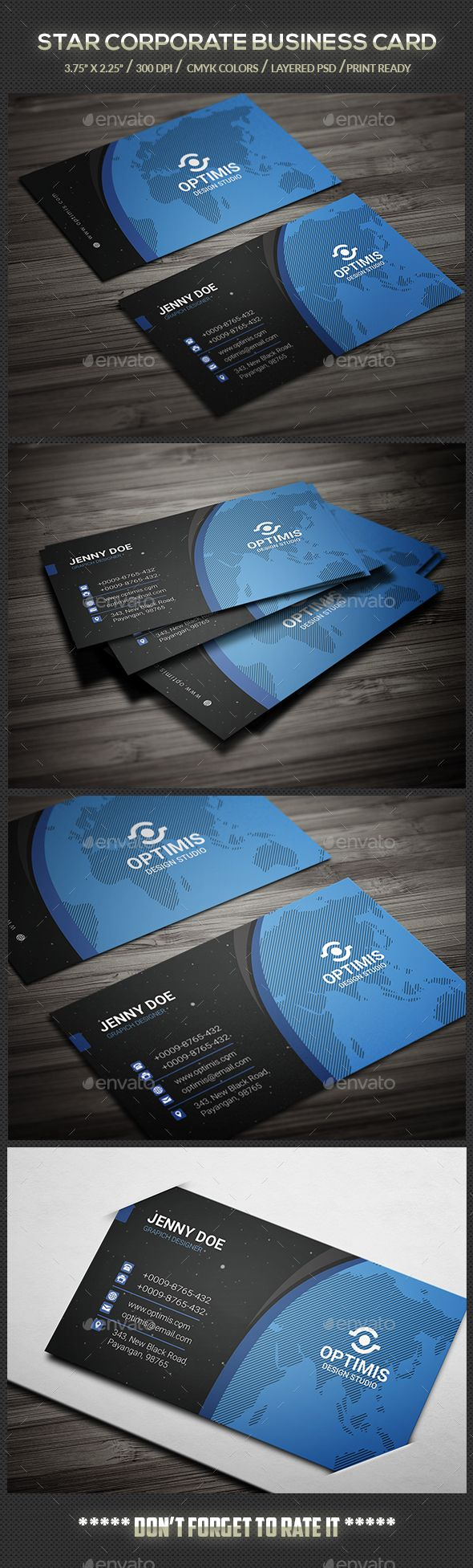 Star Corporate Business Card Template PSD #design Download: http://graphicriver.net/item/star-corporate-business-card/13872122?ref=ksioks