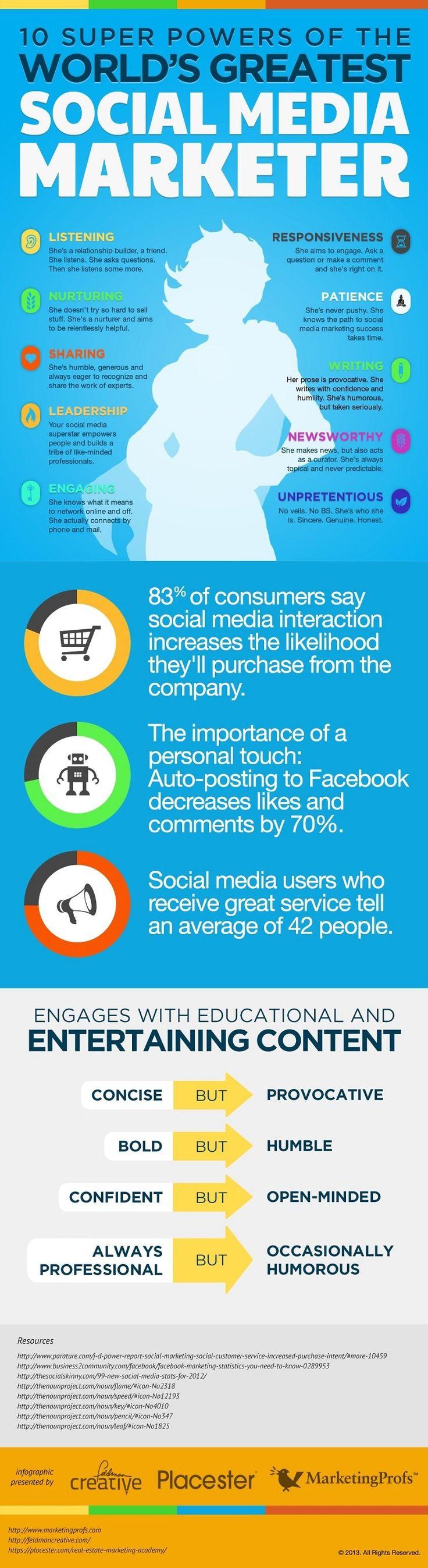 10 Super Powers of the World's Greatest Social Media Marketer #socialmedia #digitalmarketing #infographic